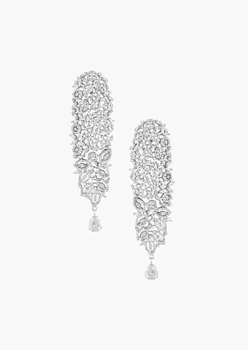 Silver Plated Earrings In White Rhodium With Faux Diamonds In Carved Floral Design By Aster