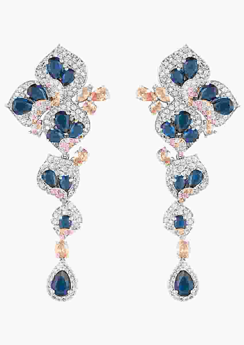 Silver Plated Earrings Studded With Faux Sapphire And Diamond By Aster