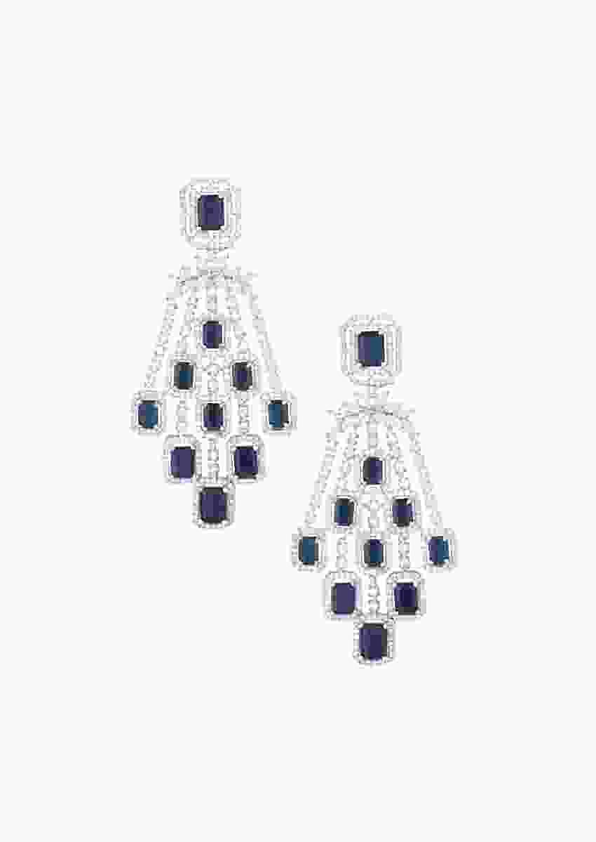 Silver Plated Earrings With Faux Diamonds And Blue Stones In Geometric Design By Aster