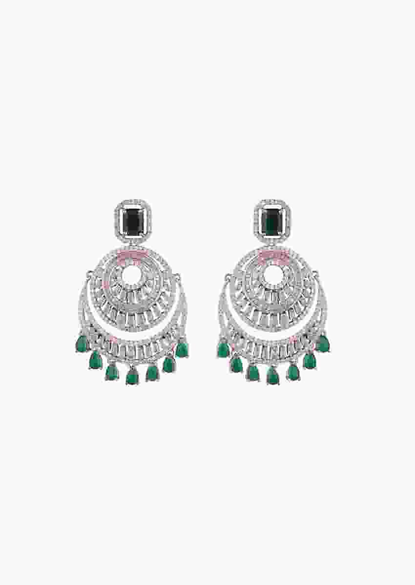 Silver Plated Earrings With Faux Emeralds And Diamonds In Circular Design By Aster
