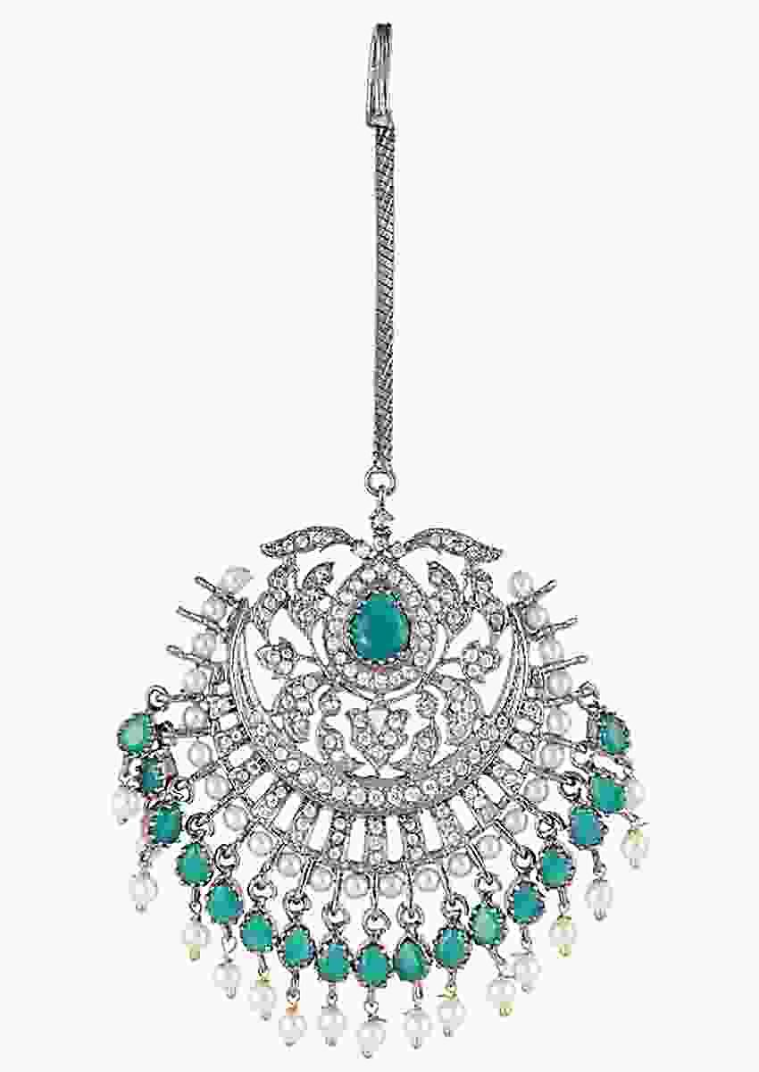 Silver Plated Mang Tika With Faux Diamonds And Green Stones In An Edgy Design By Aster