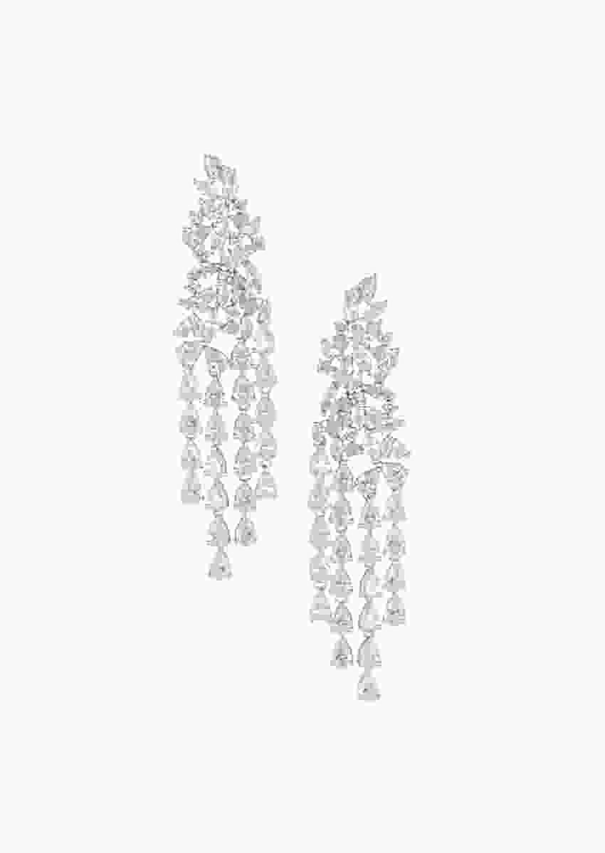 Silver Plated Multi Line Earrings Studded With Faux Solitaire Diamonds By Aster