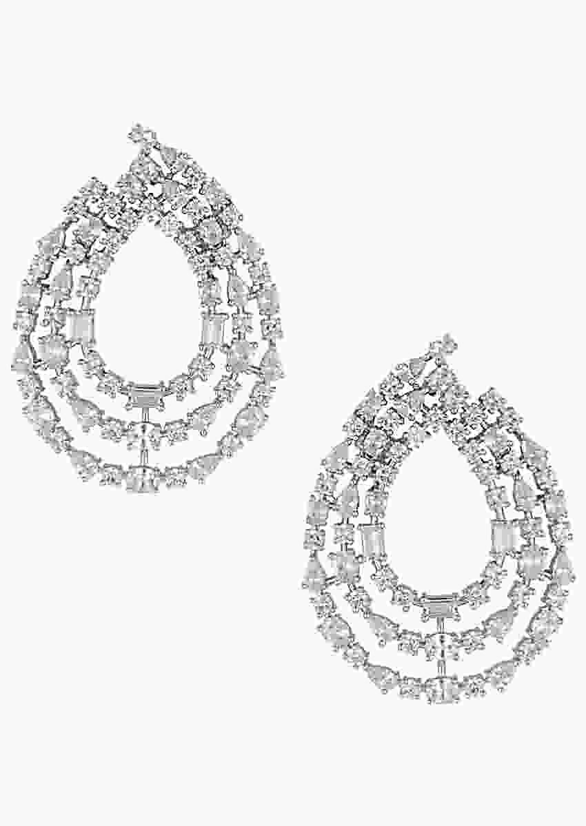 Silver Plated Three Line Earrings In Drop Motif With Faux Solitaire Diamonds By Aster