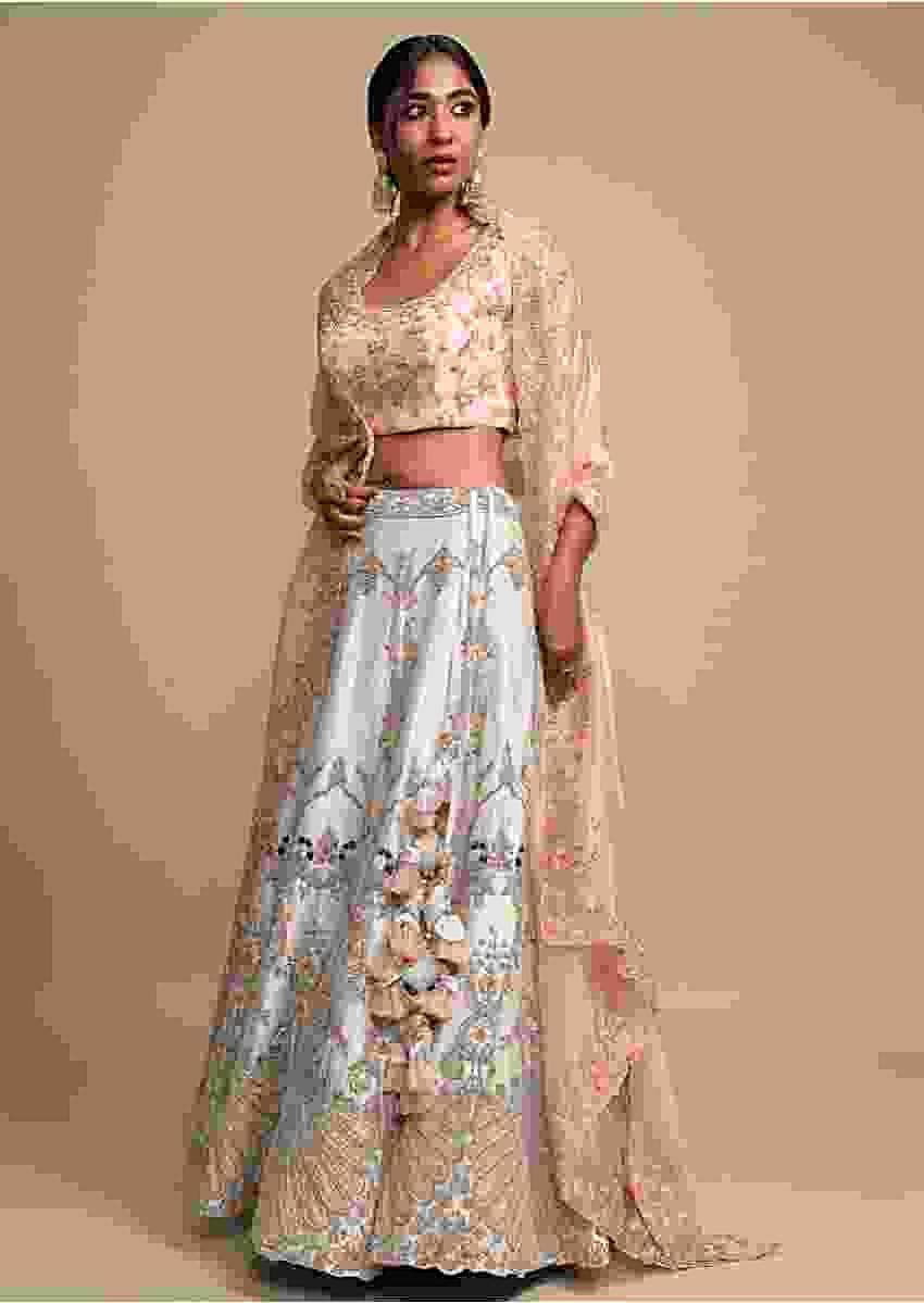 Silver Grey Lehenga Set With Refreshing Thread Embroidered Elaborate Floral Kalis And Peacock Motifs Online - Kalki Fashion
