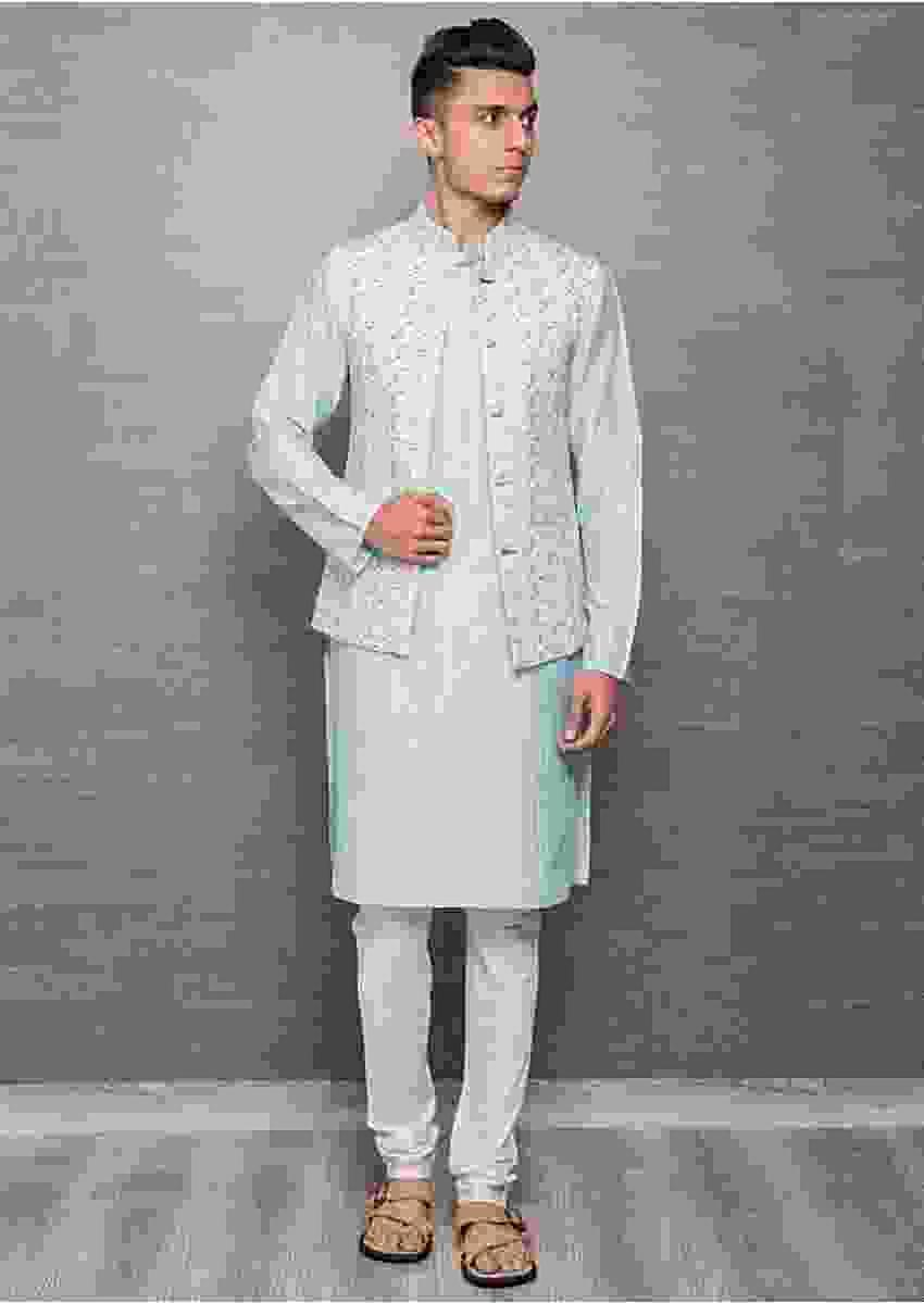 Sky Blue Kurta In Cotton Silk With White Churidar And Digital Printed Nehru Jacket Online - Kalki Fashion