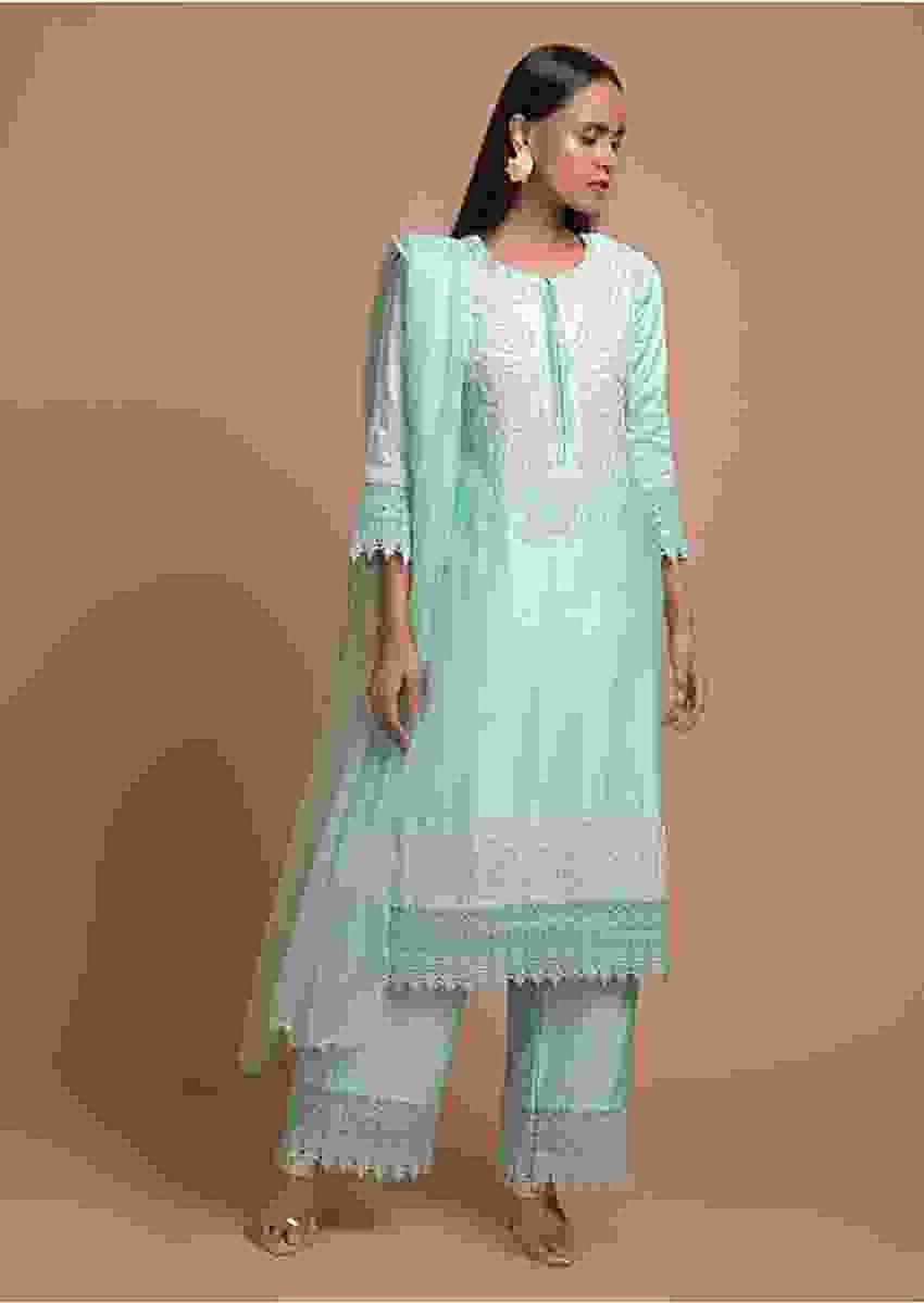 Sky Blue Palazzo Suit In Cotton With Beads And Sequins Embroidered Floral Design And Crochet Lace Borders Online - Kalki Fashion