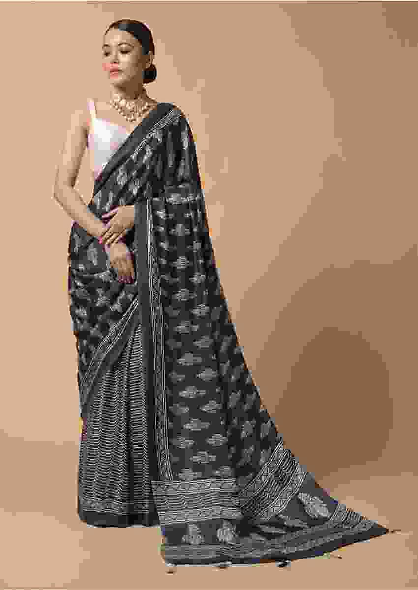 Slate Grey Saree In Satin Blend With Batik Print And Floral Printed Butti Online - Kalki Fashion