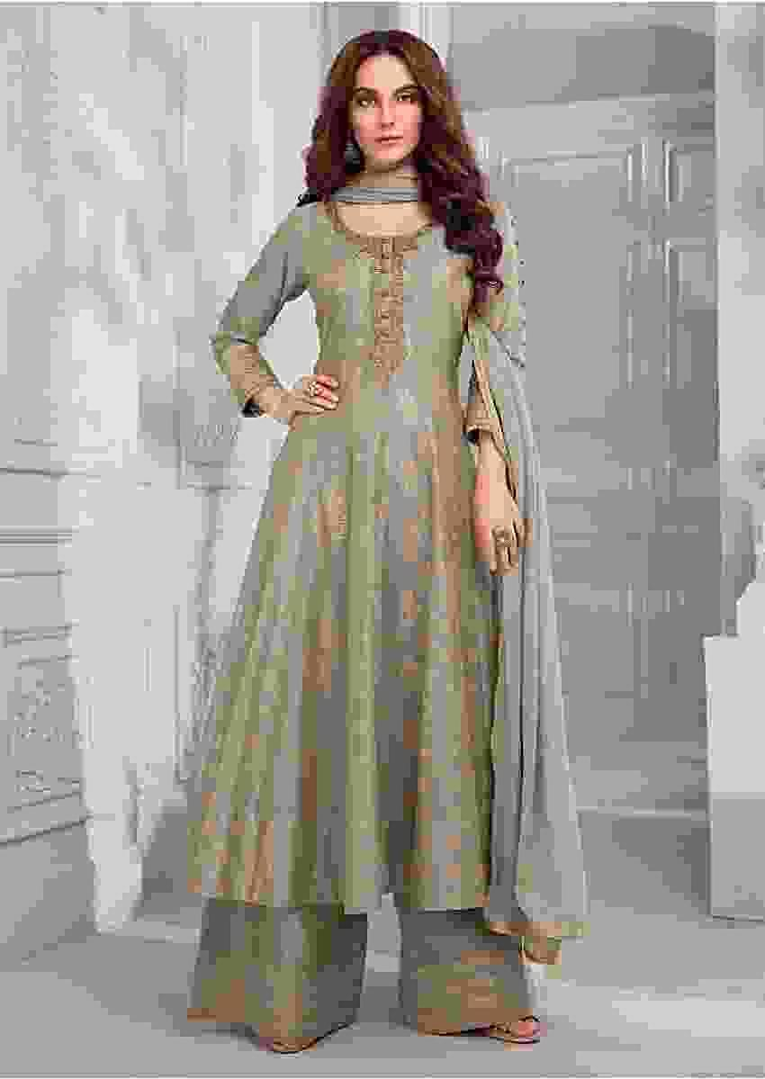 Smoke Grey Anarkali Suit In Cotton Silk With Foil Printed Floral Motifs And Zardozi Embroidered Neckline Online - Kalki Fashion