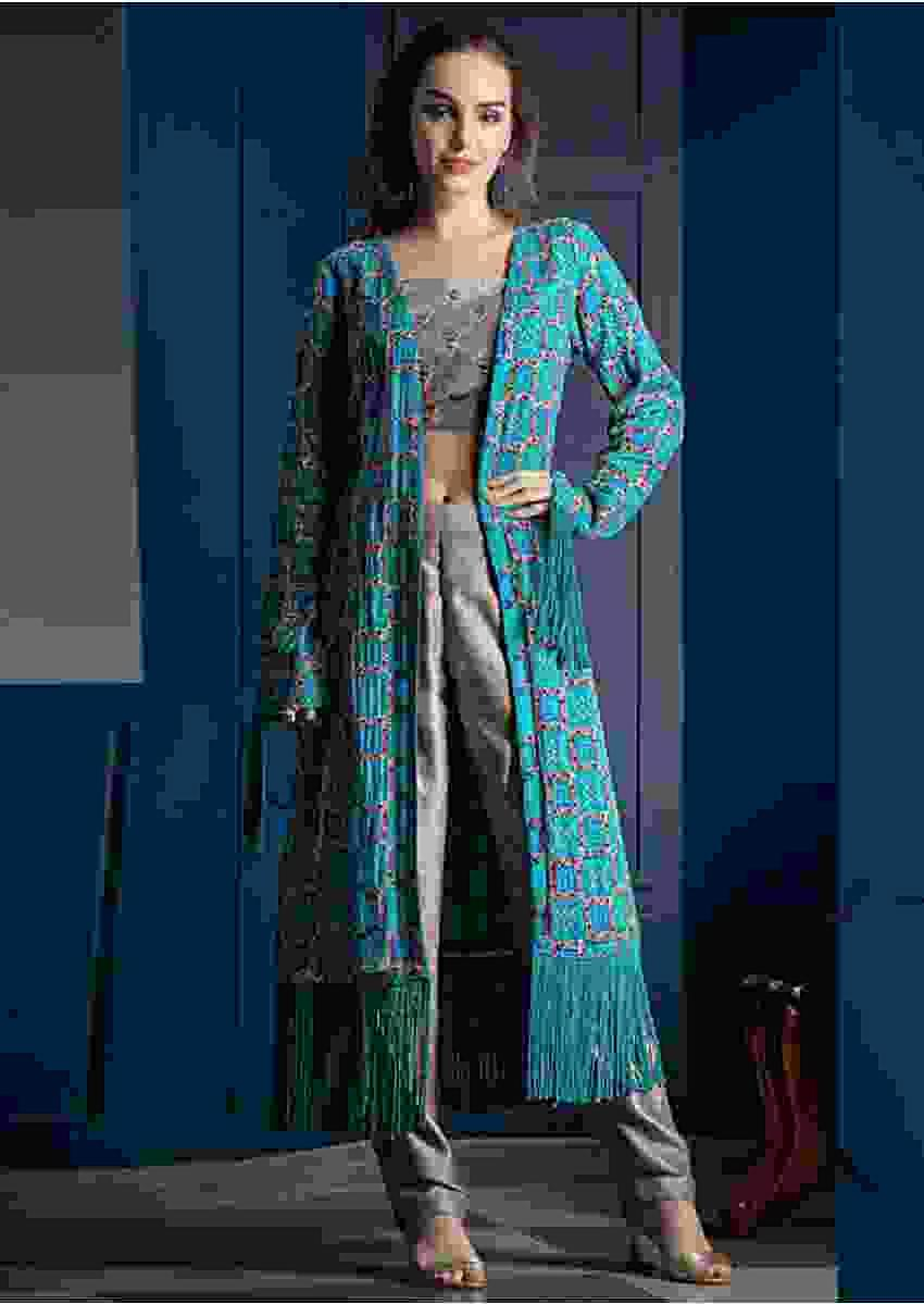 Smoke Grey Crop Top Suit With Contrasting Blue And Sea Green Shaded Bandhani Jacket Online - Kalki Fashion
