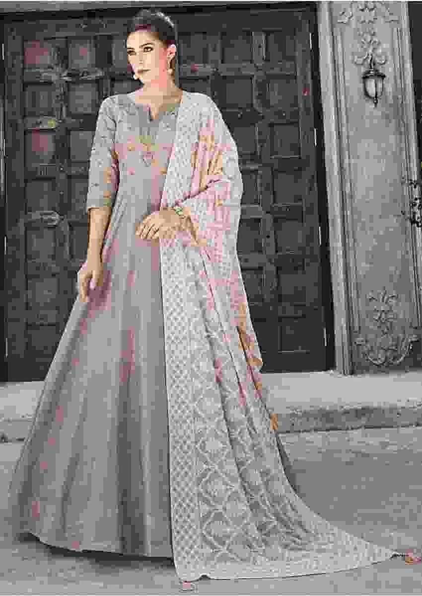 Soho Loft Grey Anarkali Suit In Raw Silk With Powder Pink Chiffon Dupatta Online - Kalki Fashion