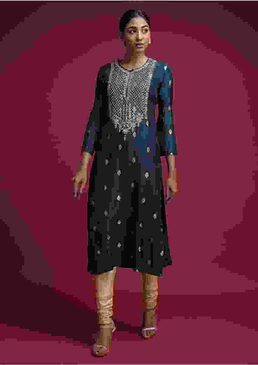 Space Blue Kurti In Cotton Silk With Weaved Buttis And Gotta Patch Work Online - Kalki Fashion
