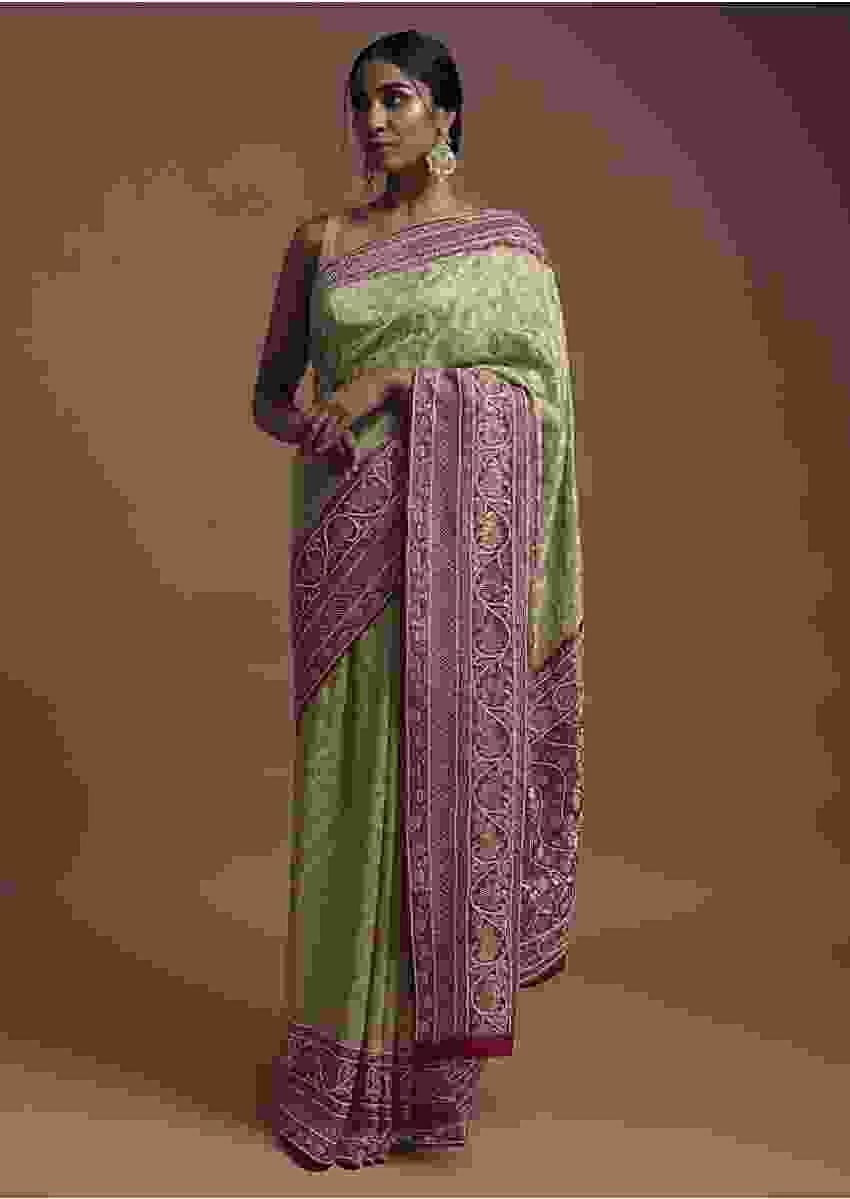 Spring Green Banarsi Saree In Georgette With Weaved Floral Mesh And Floral Jaal On The Rani Pink Pallu Online - Kalki Fashion