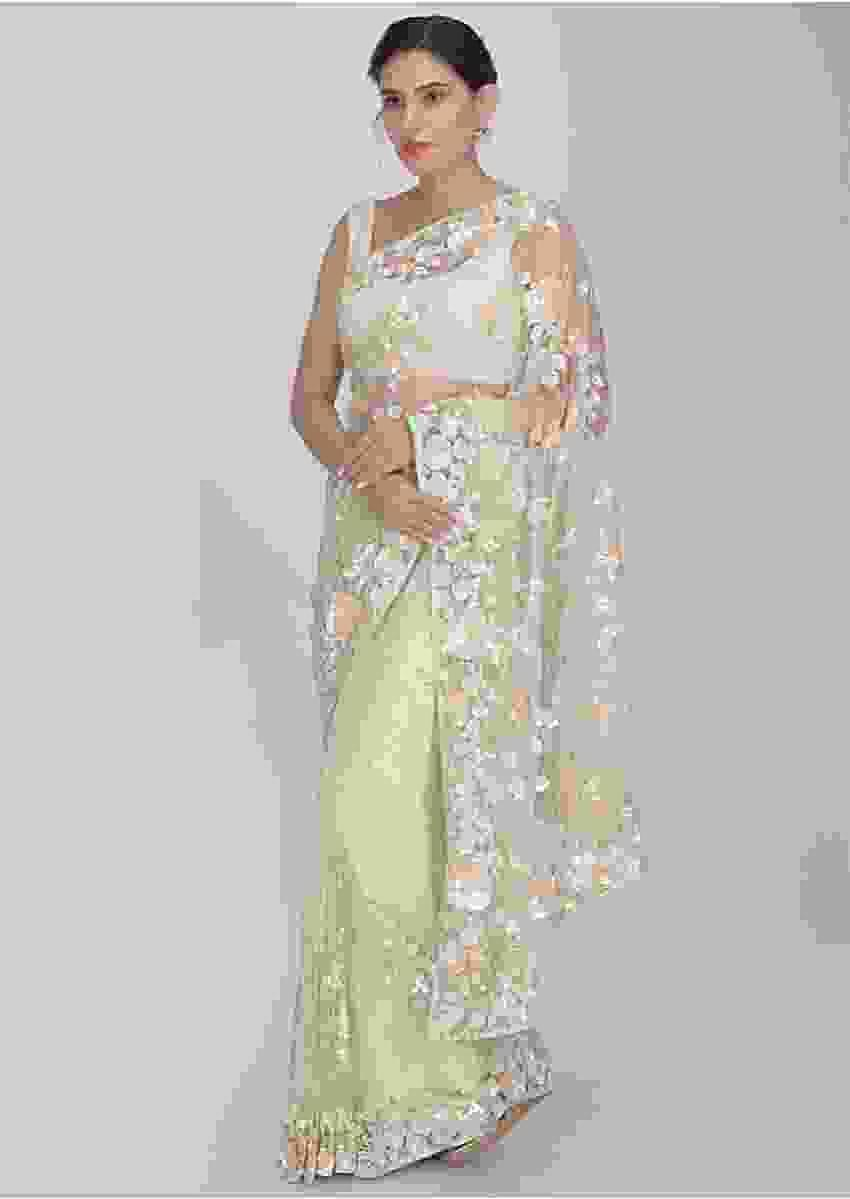 Spring Green Net Saree With Matching Blouse Piece Online - Kalki Fashion