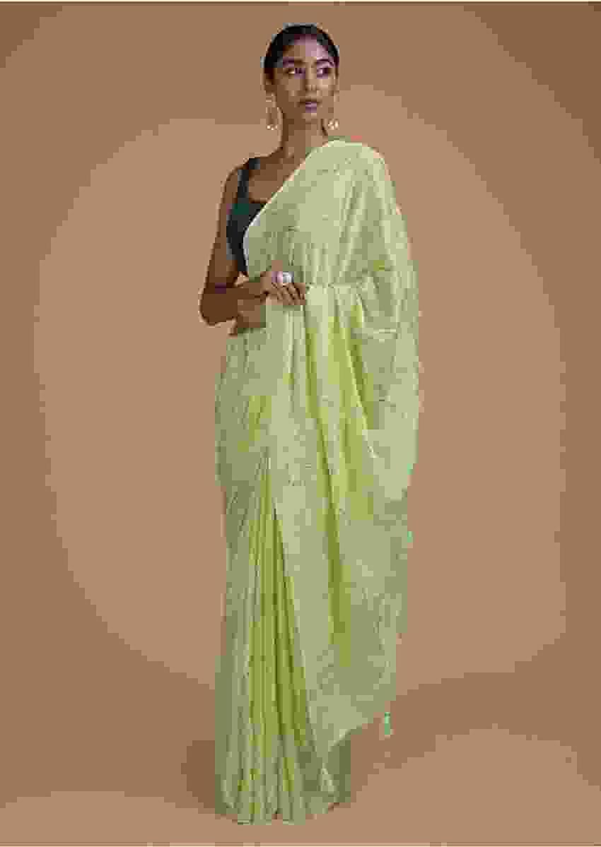 Spring Green Saree In Chiffon With Badla Work In Diagonal Stripes And Round Motifs Online - Kalki Fashion