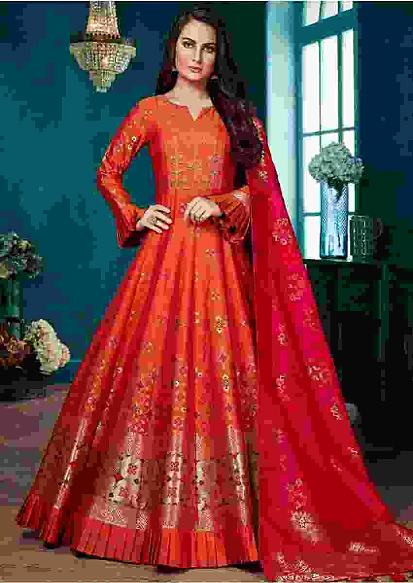 Squash Orange Anarkali Suit With Weaved Patola Motifs And Rani Pink Banarasi Dupatta Online - Kalki Fashion