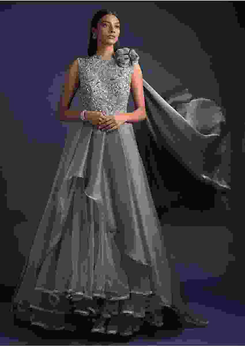 Steel Grey Ball Gown With Shimmer High Low Layer And Attached Drape On The Shoulder Online - Kalki Fashion
