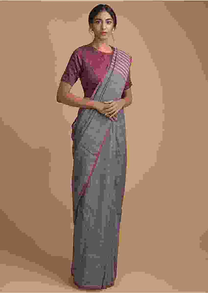 Steel Grey Saree In Linen With Weaved Stripes With A Printed Maroon Blouse Online - Kalki Fashion