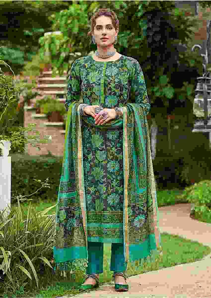 Steel Grey Straight Cut Suit In Tussar Silk With Block Printed Floral Jaal Online - Kalki Fashion