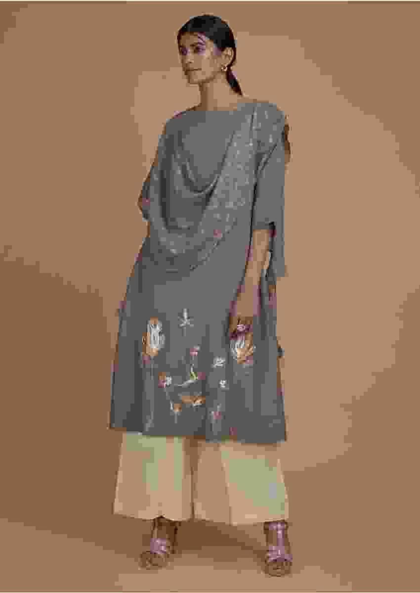 Steel Grey Tunic In Cotton Enhanced With Foil Printed Floral Pattern And Attached Drape Online - Kalki Fashion