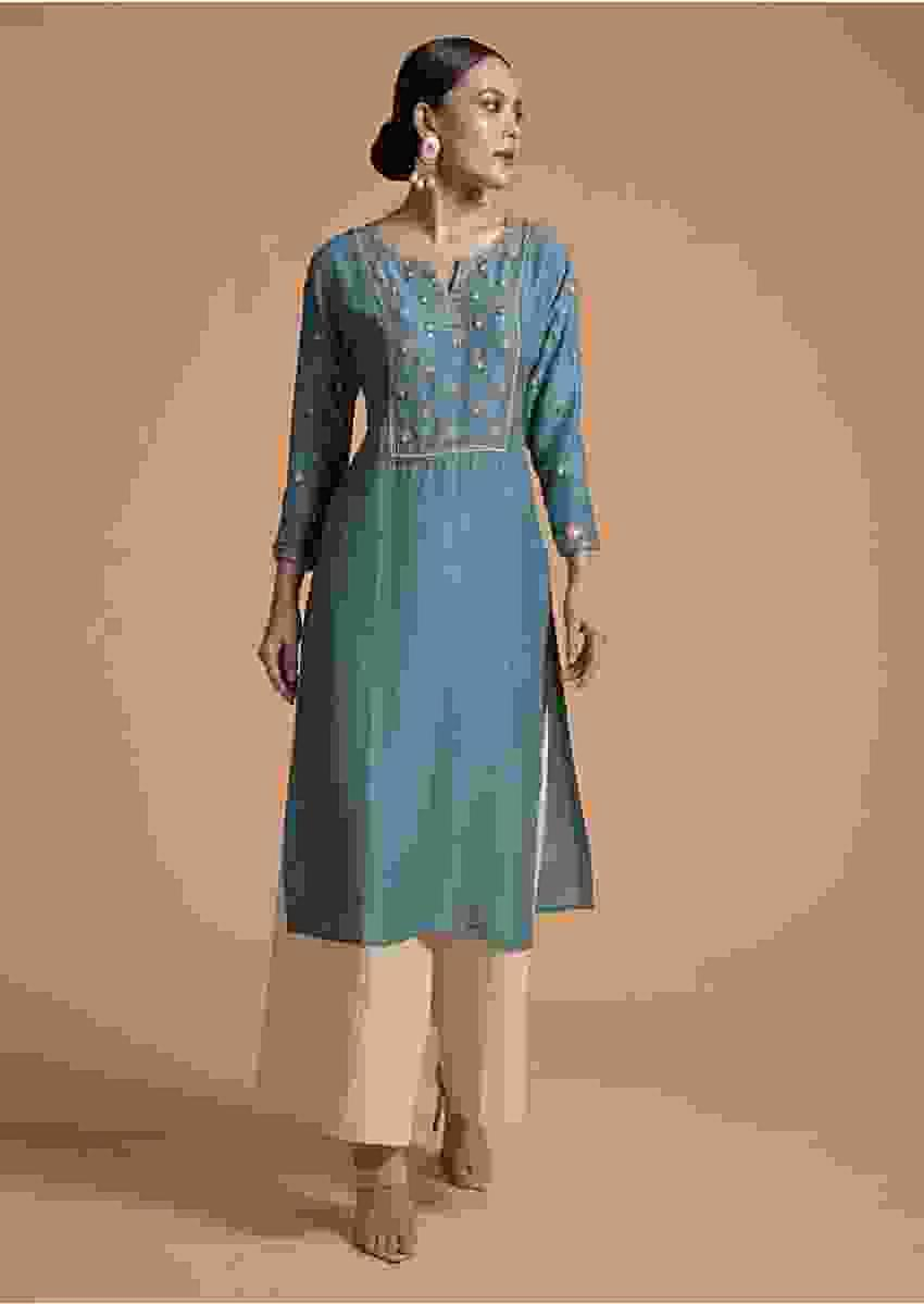 Stone Blue Kurti In Cotton Silk With Resham Embroidered Floral Motifs And Matching Face Mask Online - Kalki Fashion