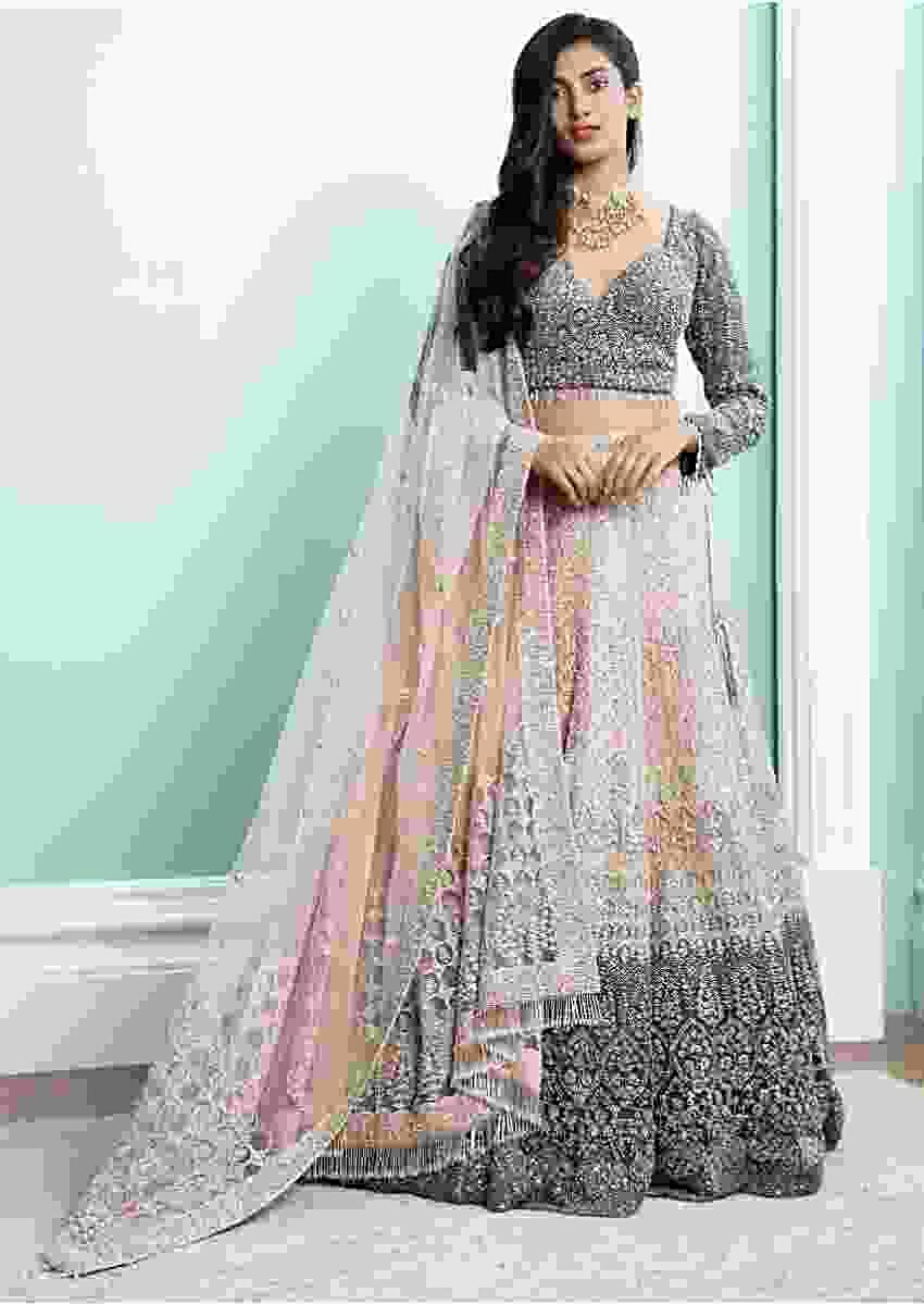 Stone Grey And Powder Pink Shaded Lehenga With Stone Grey Choli With Heavy Embroidery Work Online - Kalki Fashion