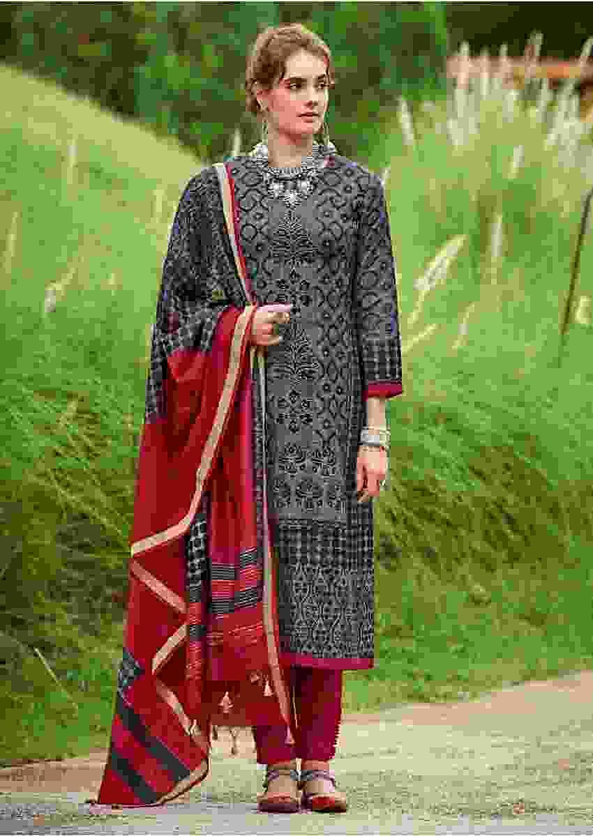 Stone Grey Straight Cut Suit In Tussar Silk With Printed Moroccan Pattern Online - Kalki Fashion