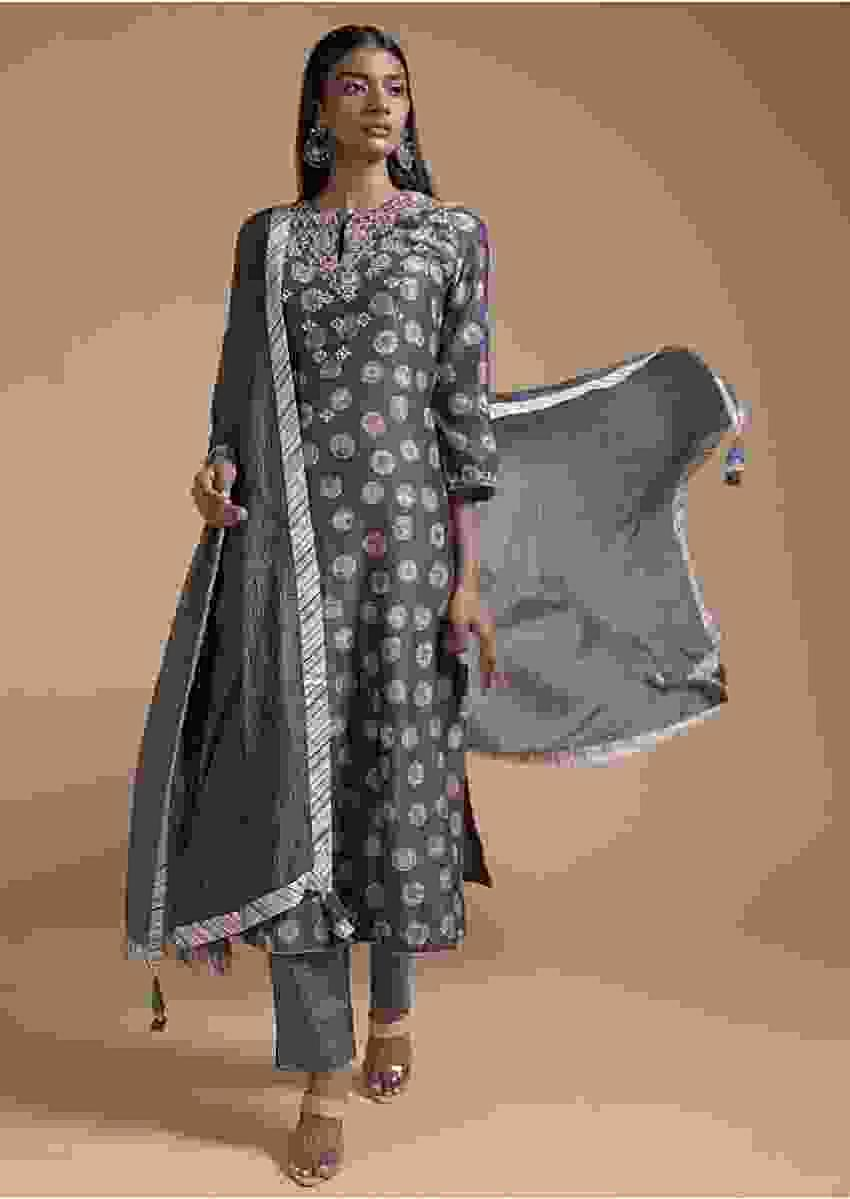Stone Grey Straight Cut Suit With Printed Floral Buttis And Sequins Embroidered Yoke Online - Kalki Fashion