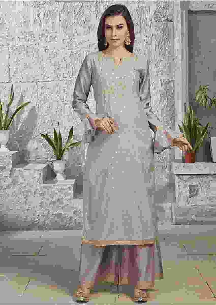 Stone Grey Straight Palazzo Suit Embellished In Zardosi Embroidery Online - Kalki Fashion