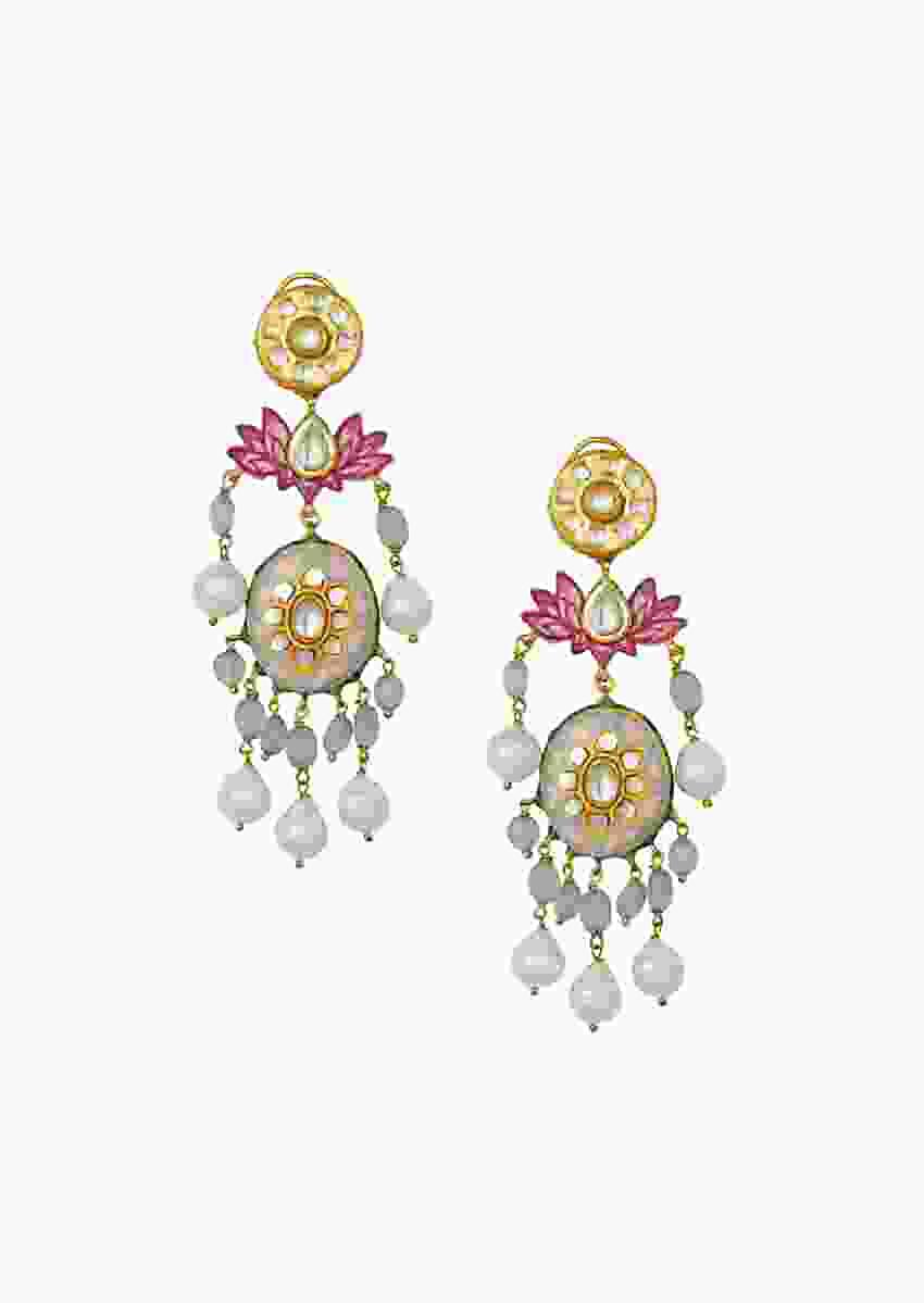 Sublime Kundan Polki Gold Enamelled Earrings With Baroque Pearls And Quartz Drop Online - Joules By Radhika
