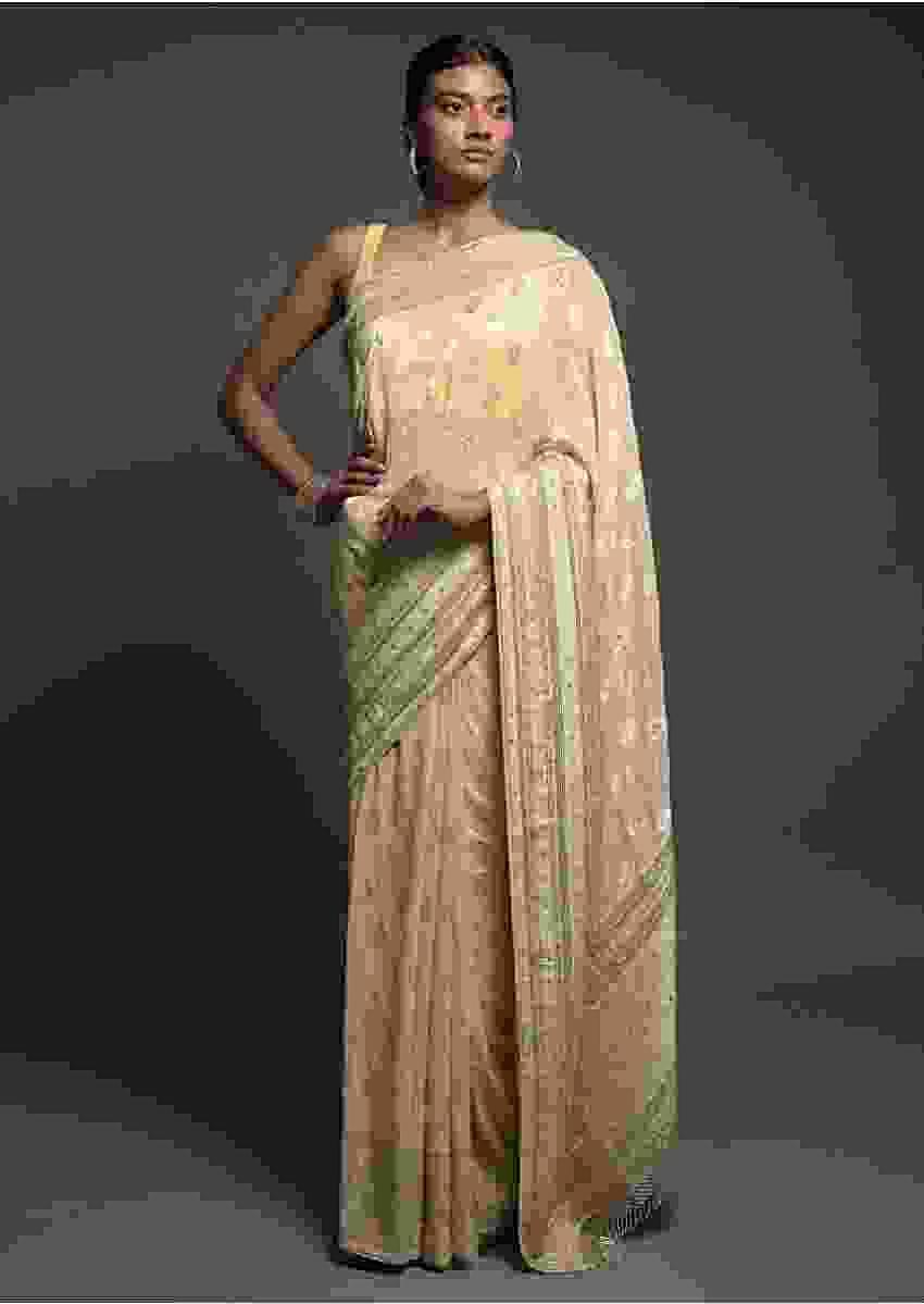 Sugar Cookie Beige Banarasi Saree In Georgette With Weaved Floral Buttis Online - Kalki Fashion