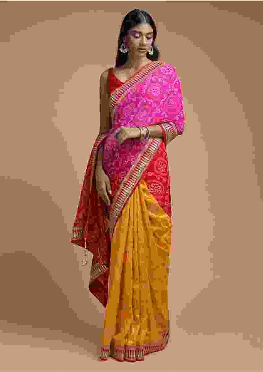 Sun Yellow And Magenta Half And Half Saree With Weaved Floral Jaal And Bandhani Print Online - Kalki Fashion