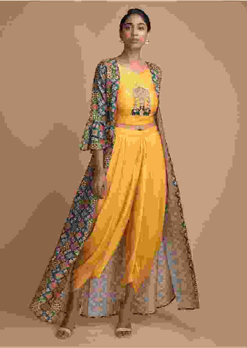 Sun Yellow Crop Top Dhoti Suit With Green Patola Printed Jacket Online - Kalki Fashion