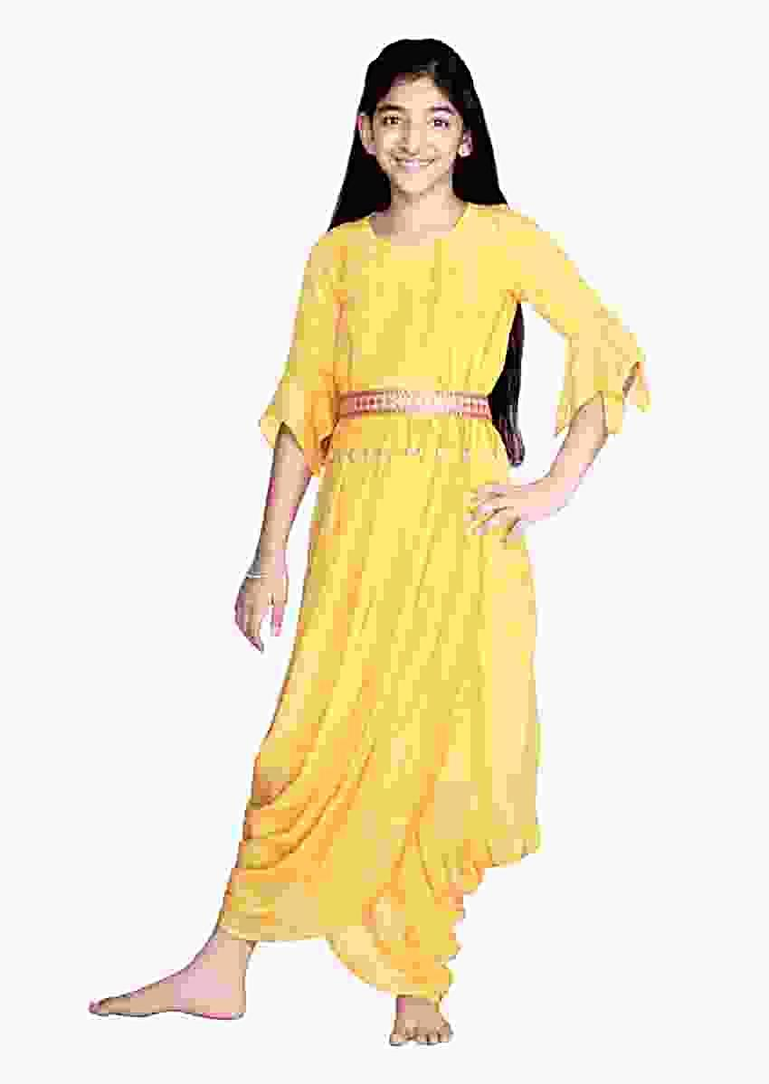 Sun Yellow Gown With Dhoti Inspired Design And Bell Sleeves Online - Free Sparrow