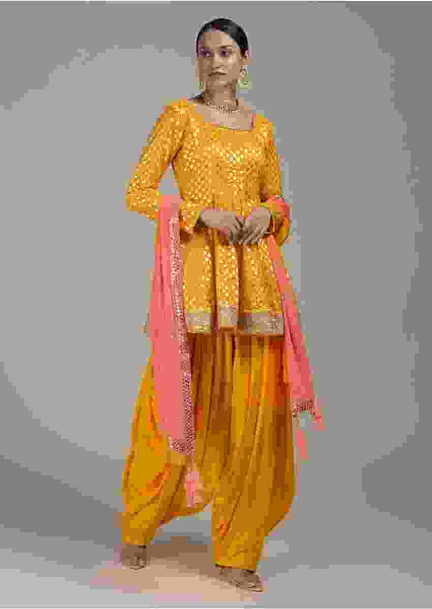 Sun Yellow Salwar Suit With Peplum Kurti Enhanced With Brocade Floral Buttis Online - Kalki Fashion