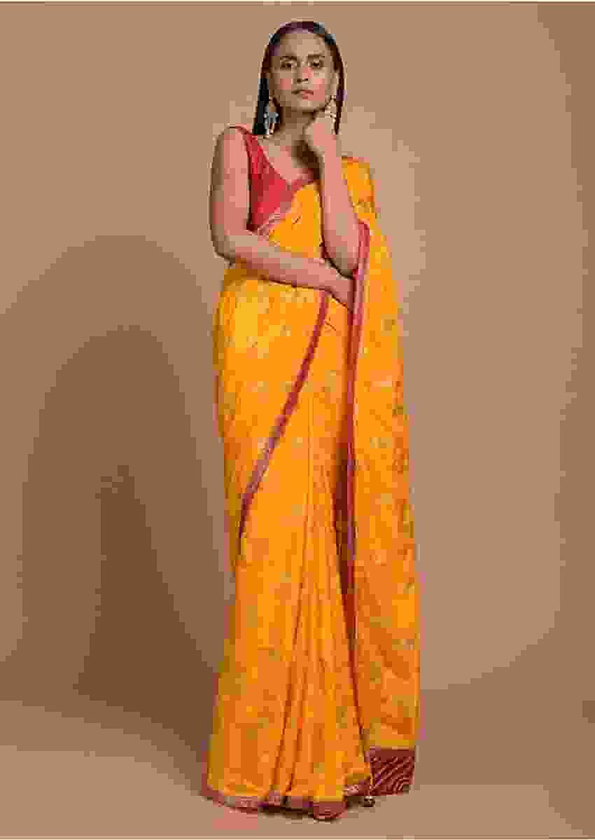 Sun Yellow Saree In Dola Silk With Brocade Floral Buttis And Red Bandhani Design On The Pallu Online - Kalki Fashion