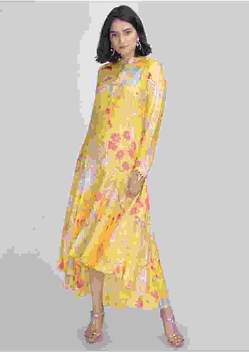 Sunbeam Glow Yellow Shirt Dress In Crepe Silk With High Low Hemline Online - Kalki Fashion