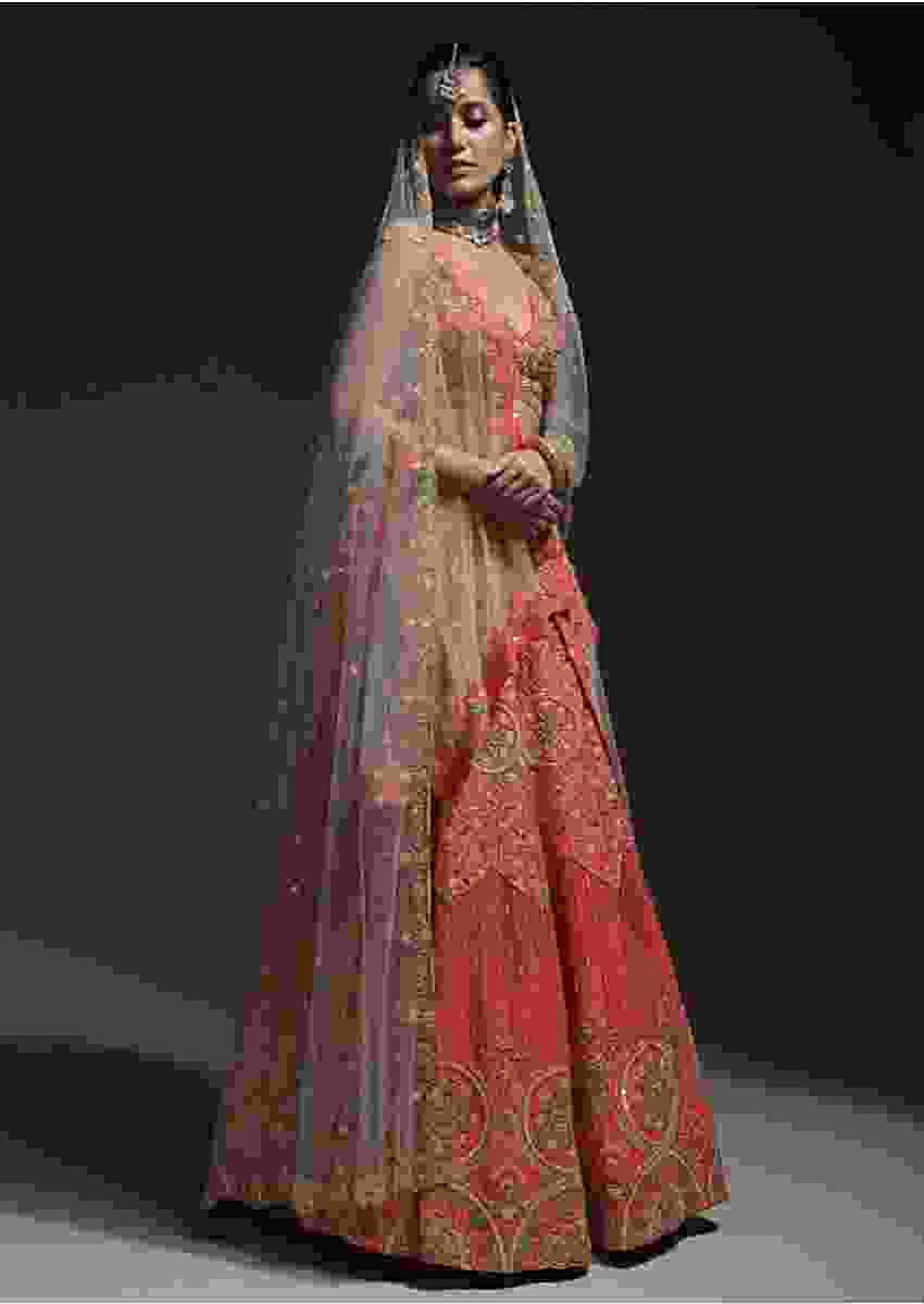 Tangerine Orange Lehenga Choli In Raw Silk With Sequins, Cut Dana And Beads Work In Floral And Geometric Design Online - Kalki Fashion