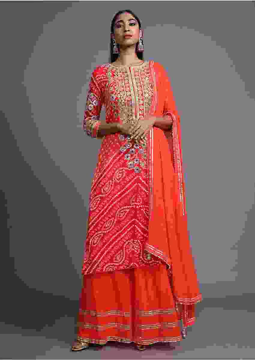 Tangerine Orange Palazzo Suit In Georgette With Bandhani Print And Embroidred With Gotta Patti And Mirror Online - Kalki Fashion