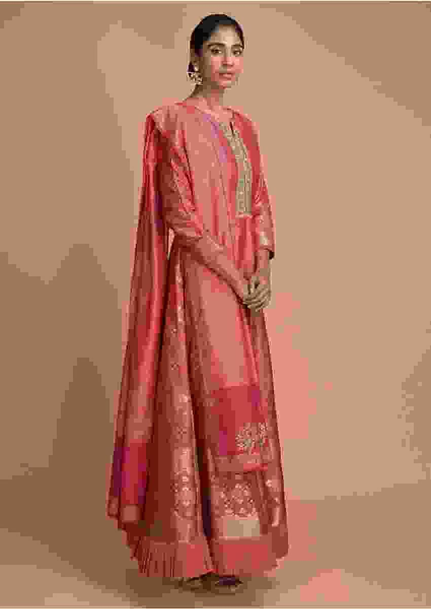 Tango Pink Anarkali Suit With Weaved Buttis And Embellished Placket Online - Kalki Fashion