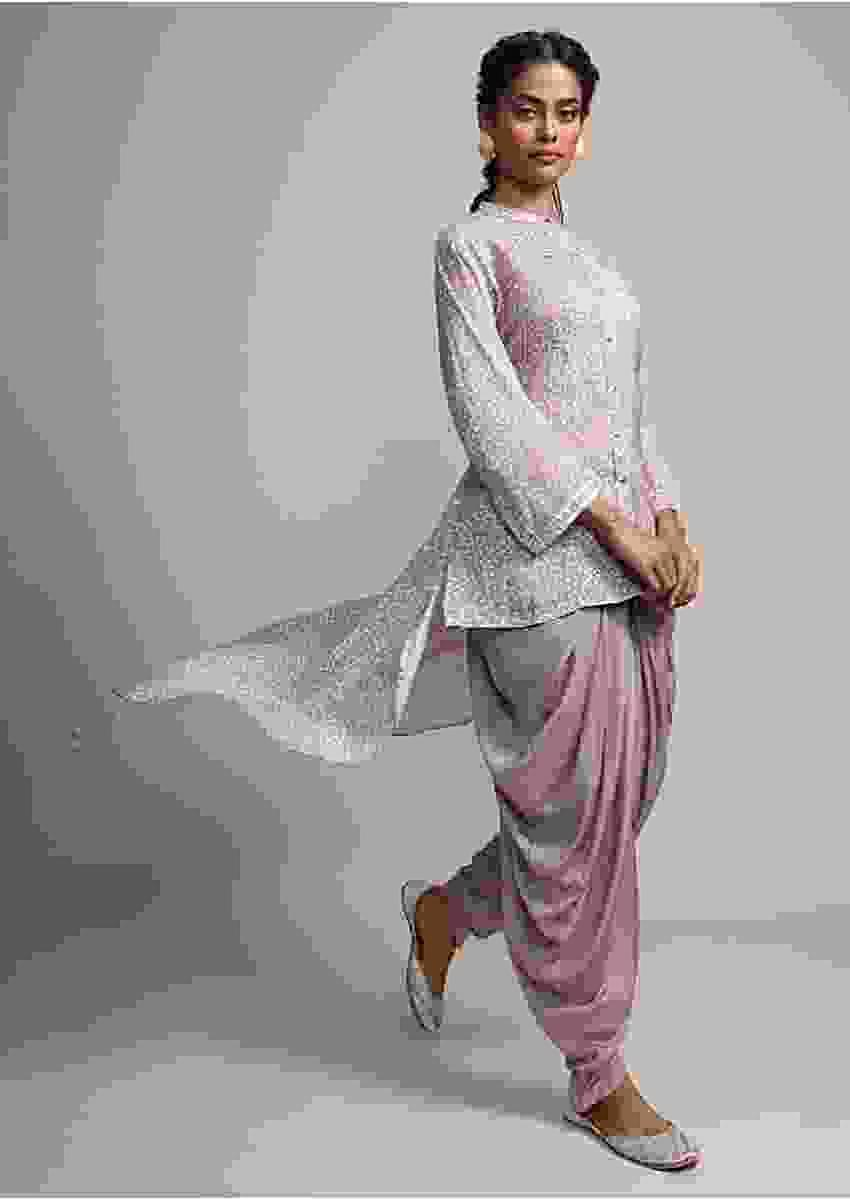 Taupe Grey Bandhani Printed Suit With Matching Dhoti Pant Online - Kalki Fashion