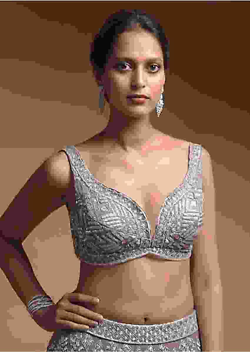 Taupe Grey Choli In Net Elaborately Hand Embellished With Cut Dana And Zari Work In Geometric Pattern Online - Kalki Fashion