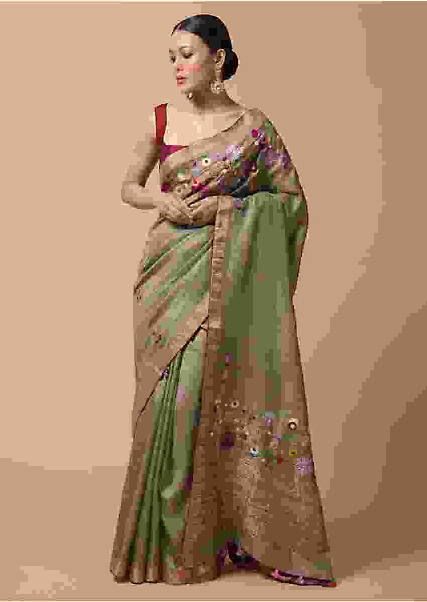 Taupe Saree In Tussar Silk With Hand Embroidered Floral Motifs Using Colorful Thread And Sequins Online - Kalki Fashion