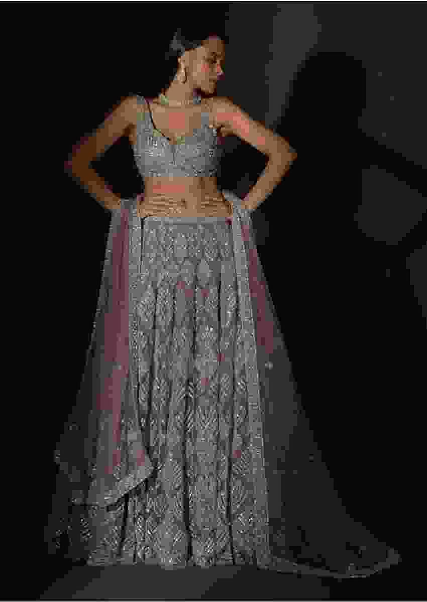 Taupe Grey Lehenga Choli In Net Elaborately Hand Embellished With Cut Dana Work In Geometric Pattern Online - Kalki Fashion