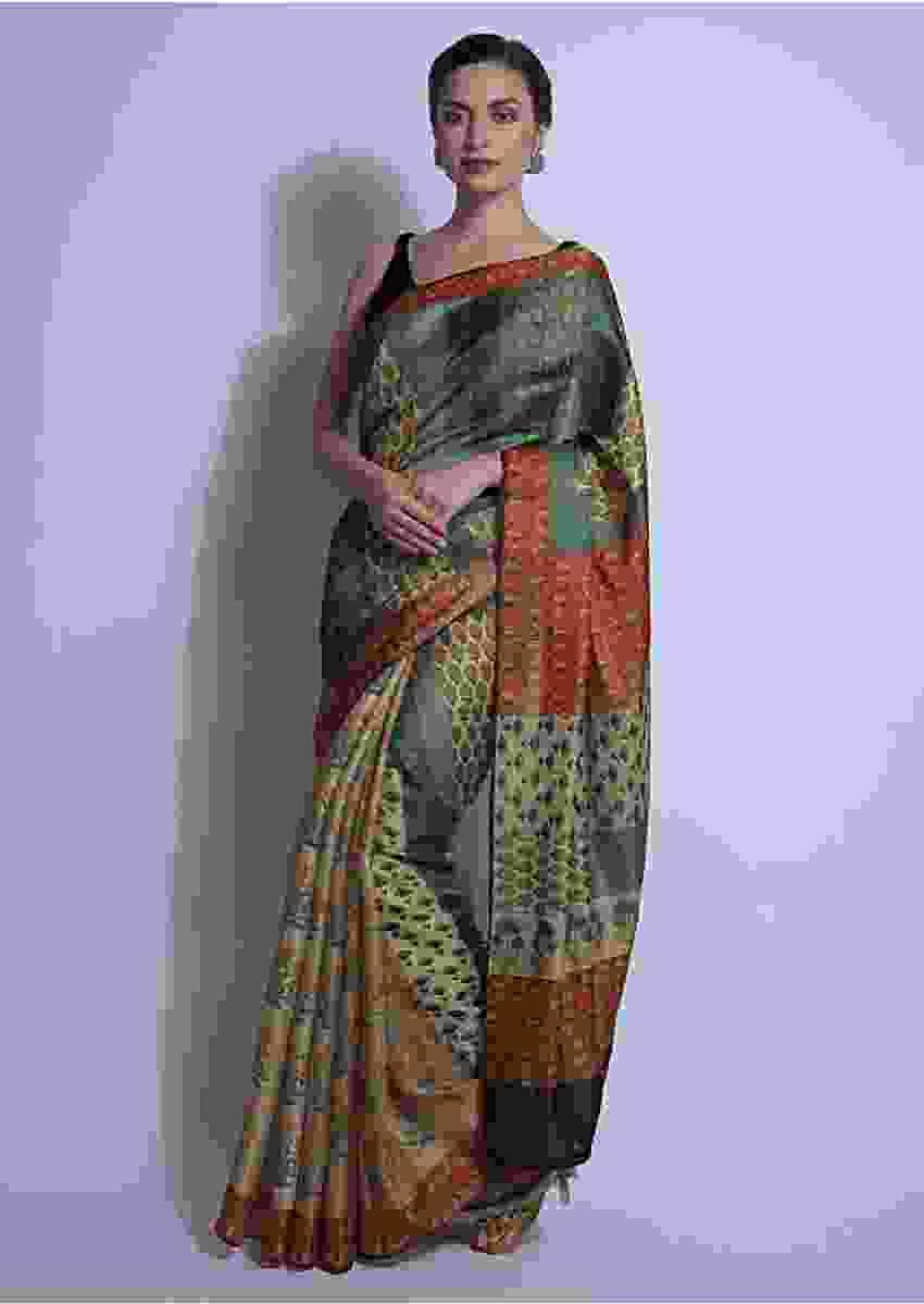 Teal And Beige Half And Half Saree In Silk With Digital Print Online - Kalki Fashion