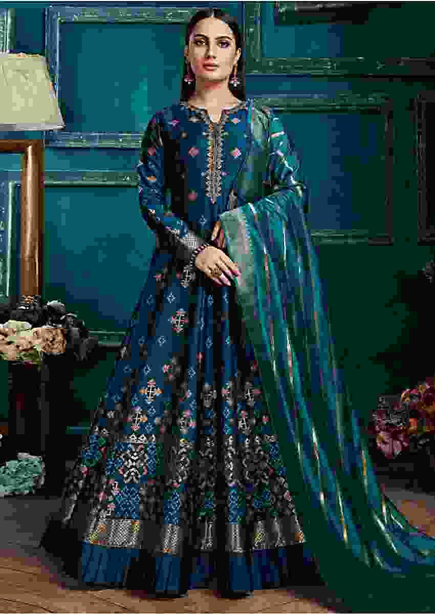 Teal Blue Anarkali Suit In Silk With Weaved Patola Pattern and Peacock Green Banarasi Dupatta ONline - Kalki Fashion