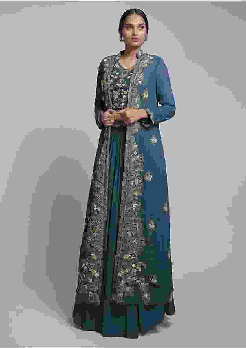 Teal Blue Jacket Lehenga With Matching Crop Top With Floral Embroidery Online - Kalki Fashion