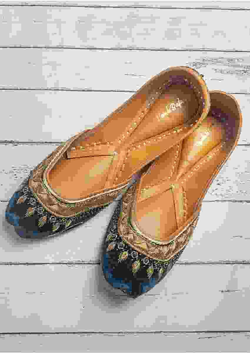 Teal Blue Juttis In Velvet Hand Embroidered With Zardozi And Pearls By Vareli Bafna