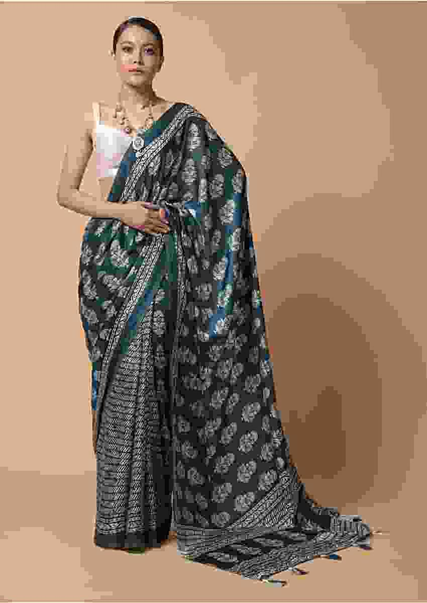 Teal Blue Saree In Satin Blend With Batik And Floral Print All Over Online - Kalki Fashion
