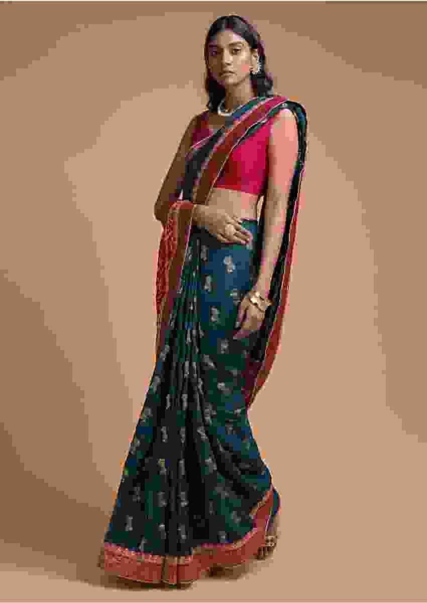 Teal Blue Saree In Silk With Bandhani Printed Pallu And Weaved Floral Buttis And Border Online - Kalki Fashion