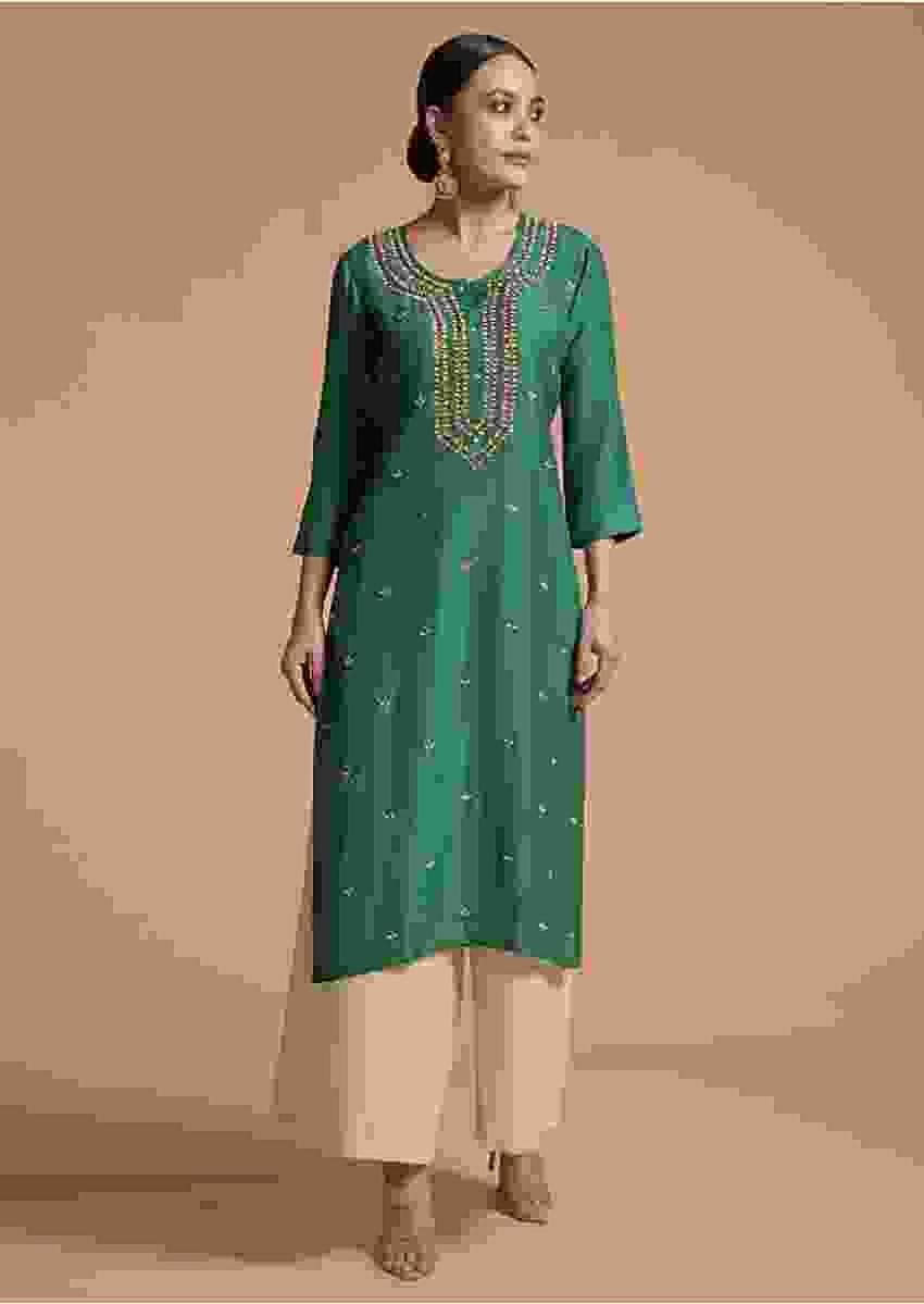 Teal Green Kurti In Cotton Silk With Zardosi Embroidery And Matching Mask Online - Kalki Fashion